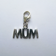 Sterling silver clip on Mum charm